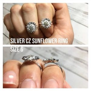 5 for $25 silver sunflower CZ size 6 ring new